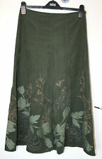 Monsoon UK8 EU36 green cord A-line cotton skirt with applique floral detail