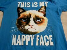BAY ISLAND Womens 2X Junior Tee Blue This Is My Happy Face Kitty 100% Cotton