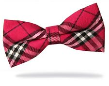 GIFTS FOR MEN Pre-Tied Mens Adjustable Tartan Check Plaid Polyester Bow Tie Pink