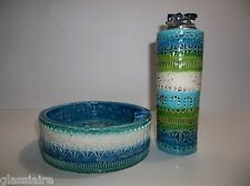 VINTAGE BITOSSI ITALIAN POTTERY RIMINI Blue Ashtray Lighter EAMES ERA LONDI