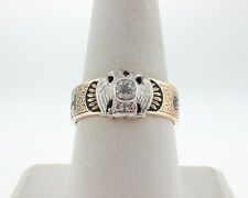 Vintage Estate Masonic Double Eagle Genuine Old Cut Diamond Solid 14k Gold Ring
