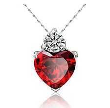 Ruby Red Swarovski Elements Cubic Zirconia Heart Free 925 Silver Necklace, 18""