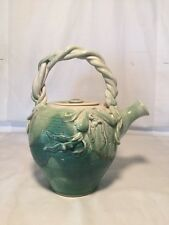 Studio Modern Primitive Art Pottery Teapot Signed Dawson Jade Teal and Rust