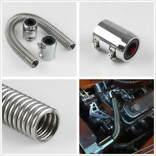 "Car High Quality 24"" Stainless Steel Radiator Flex Hose Kit With Chrome End Caps"