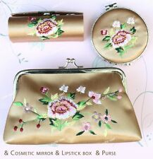 Wonderful Floral Brocade Silk Cosmetic Bag Mirror&Lipstick Box&Purse set-beige
