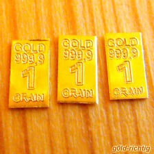 3x 1 GR. GOLDBARREN je 0,0648 Gramm + Zertifikat + Limitiert (Gold Barren Münze)