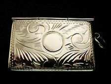 "Solid Silver envelope double 2 stamp case photo holder Locket Fob 1"" Chatelaine"