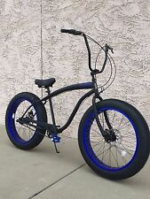 NEW Sikk 3 SPEED��Fat Tire Beach Cruiser Bike��Flat Black w Blue CUTOUT RIMS