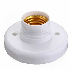 Useful E27 Round Plastic Base Screw Light Bulb Lamp Socket Holder White AUS