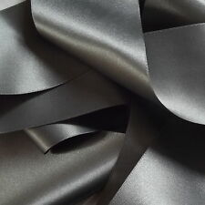 Berisfords Double Satin Ribbon, 70mm wide per metre, Shade 669, Smoked Grey
