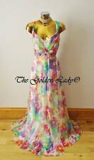 MONSOON PARADISE FLORAL CHIFFON SILK MAXI EVENING DRESS Size 20   Eur48 Usa16