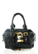 AUTH CHLOE Black Leather Double Strap Paddington Satchel Handbag BP2946 MHL