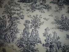 WAVERLY RUSTIC LIFE TOILE FABRIC RUST BLUE & WHITE 54 X 27 (.75 YARDS) COTTON