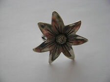 Sterling Silver Large Flower Ring Size 6 New Old Stock