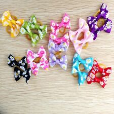 30X  CUTE bowknot Pet Dog Hair Bows Cat Puppy Hair Accessories W/Rubber Bands