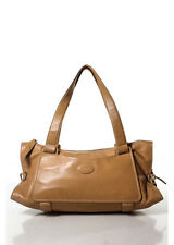 TOD'S Tan Leather Silver Tone Tie Side Double Strap Satchel Handbag