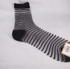 Womens Black Striped Stripes SHEER Fashion Crew Socks size 9-11 Black Trim