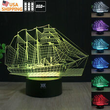 Ferry Sailboat 3D LED Acrylic Night Lights 7Color Touch Table Desk Art Lamp Gift
