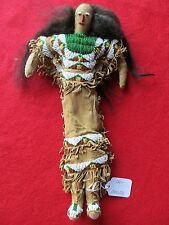 NATIVE AMERICAN  FEMALE INDIAN BEADED DOLL UNIQUE LEATHER BEADED  DOLL, DU-00050