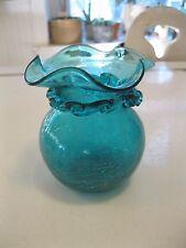 Vintage Blue Crackle Glass Vase
