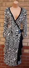 STAR BY JULIEN MACDONALD WHITE BLACK ABSTRACT WRAPE BELTED SKATER DRESS L 14