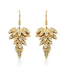 Rose Gold Fill Leaf Design Red Carpet Swarovski Crystal Chandelier Earring IE37