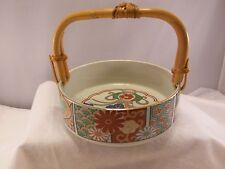 Arita Imari Fan Japan Ceramic Serving Bowl w/Basket Handle Fine China