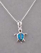 925 Sterling Silver Turtle Pendant Necklace Created Blue Opal Jewelry NEW Cute
