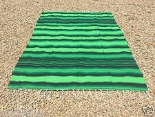 """Mexican Blanket Sarape Multi-Color Lime Green #1  """"84x60"""" Made in Mexico."""