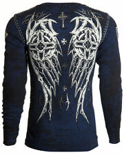 Archaic AFFLICTION Mens THERMAL Whipstitch Shirt SPIKE WINGS Biker UFC M-XXL $58