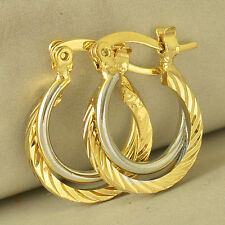 Fashion Womens White/Yellow Gold Filled Round Vintage Cute Hoop Earrings Girls