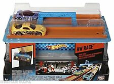 Hot Wheels Race Case Track Set 2 Launchers 2 Lane Race 2 Cars New