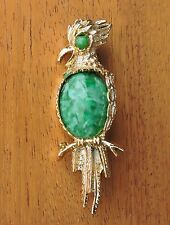 Vintage Goldtone Pin Brooch GERRY Jelly Belly Bird Green & White Stone