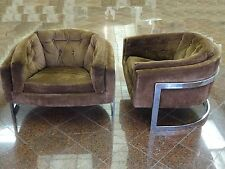 RARE PAIR of 70's POLISHED CHROME SUEDE MILO BAUGHMAN BARREL CLUB LOUNGE CHAIR