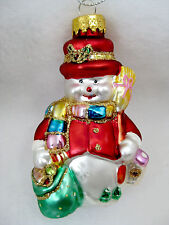 Snowman Ornament Glass Christmas Decor NEW in Display Box