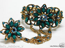 Antique Turquoise Flower Crystal Rhinestone Bracelet Bangle with flower ring set