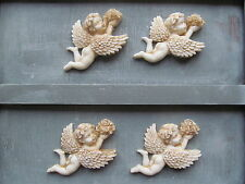 SHABBY CHIC FOUR  CHERUBS AND FLOWERS WHITE RESIN FURNITURE MOULDINGS