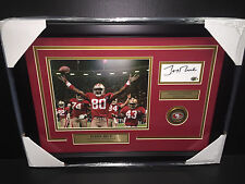 JERRY RICE AUTOGRAPHED CUT W/ 8X10 PHOTO SAN FRANCISCO 49'ERS FRAMED AUTHENITC