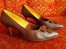 Size 7 a/aaa Stiletto High Heels Town & Country 1960's Leather Vintage Shoes