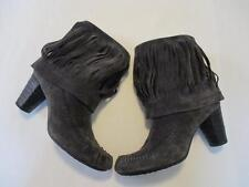 "Womens Born Gray Suede Leather Fringed Boots 3"" HIGH Heeled Size 8.5 Moccasins"