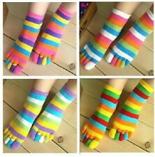 New 5 Pairs Wholesale Colorful Women's Girl Color stripes five finger Toe Socks