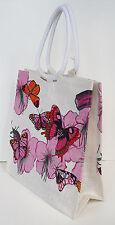 Diseño De Mariposa Rosa Yute De Compras/bolso. nuevo.