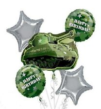 Camouflage Birthday Party Balloon Bouquet 5pc