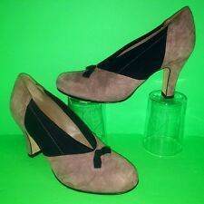 $375 ANYI LU Heart Suede Leather Bow Elastic Side Women Pump Heel Shoes 35.5 5.5