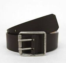 New Gucci Dark Brown Leather Belt w/Double Prong Square Buckle 80/32 387026 2140