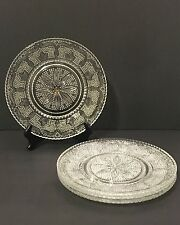 Vintage Clear Pressed Glass Beaded THOUSAND-EYES Hobnail Daisy PLATE Set (4)