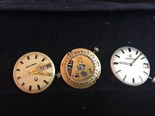lot of 3 Bulova Accutron 218 watch movement & dials for parts & repairs- running