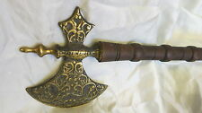 Antique Knight Medieval Decorative Axe Brass/wood Made in England