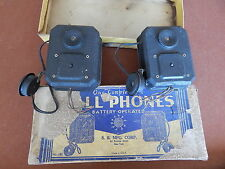 ANTIQUE WALL PHONES VINTAGE 1930's  INTERCOM S B MFG BATTERY OPERATED TELEPHONE