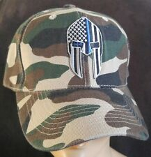 Spartan Helmet Blue Line Flag Camouflage USA Hat POLICE SWAT MILITARY TACTICAL
